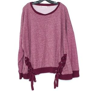 Maurices Sweatshirt Pullover Lace Up 3 24W 26W I1